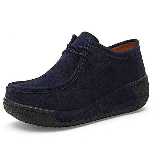 Ladiamonddiva NEW Spring Women Wedges Shoes Platform Shoes Hand-Sewn Leather Suede Casual Shoes Slip On Flats Navy blue2 - Vegas Las Mile Shops High