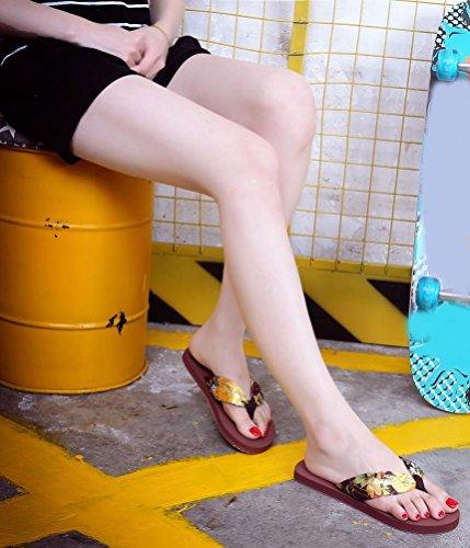 Transer® Damen Flach Zehentrenner Freizeit Bohemian-Stil Toepost Hausschuhe Beige Schwarz Braun Slipper (Bitte achten Sie auf die Größentabelle. Bitte eine Nummer größer bestellen) Braun