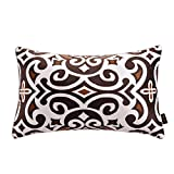 """nioBomo Super Soft Throw Pillow Case Decorative Cushion Covers for Bed Livinig Room Couch Sofa 12"""" X 20"""", Set of 2 - Chevron and Vintage Floral, Brown Coffee White (12 by 20 inches, 1)"""