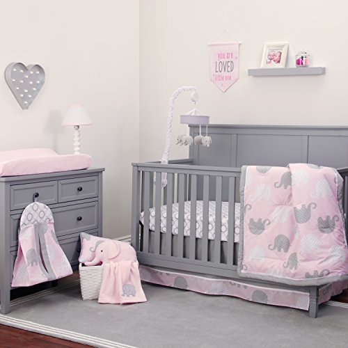 Convertible Crib Room Set - NoJo Dreamer - Pink/Grey Elephant 8 Piece Comforter Set