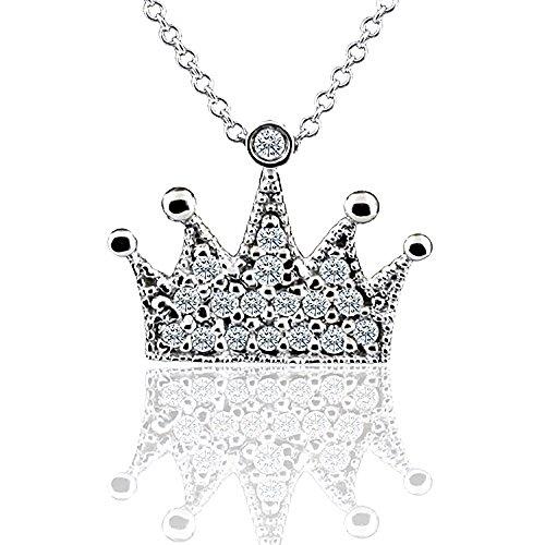 0.17CT Diamond 14K White Gold Crown Tiara Pendant Necklace ()