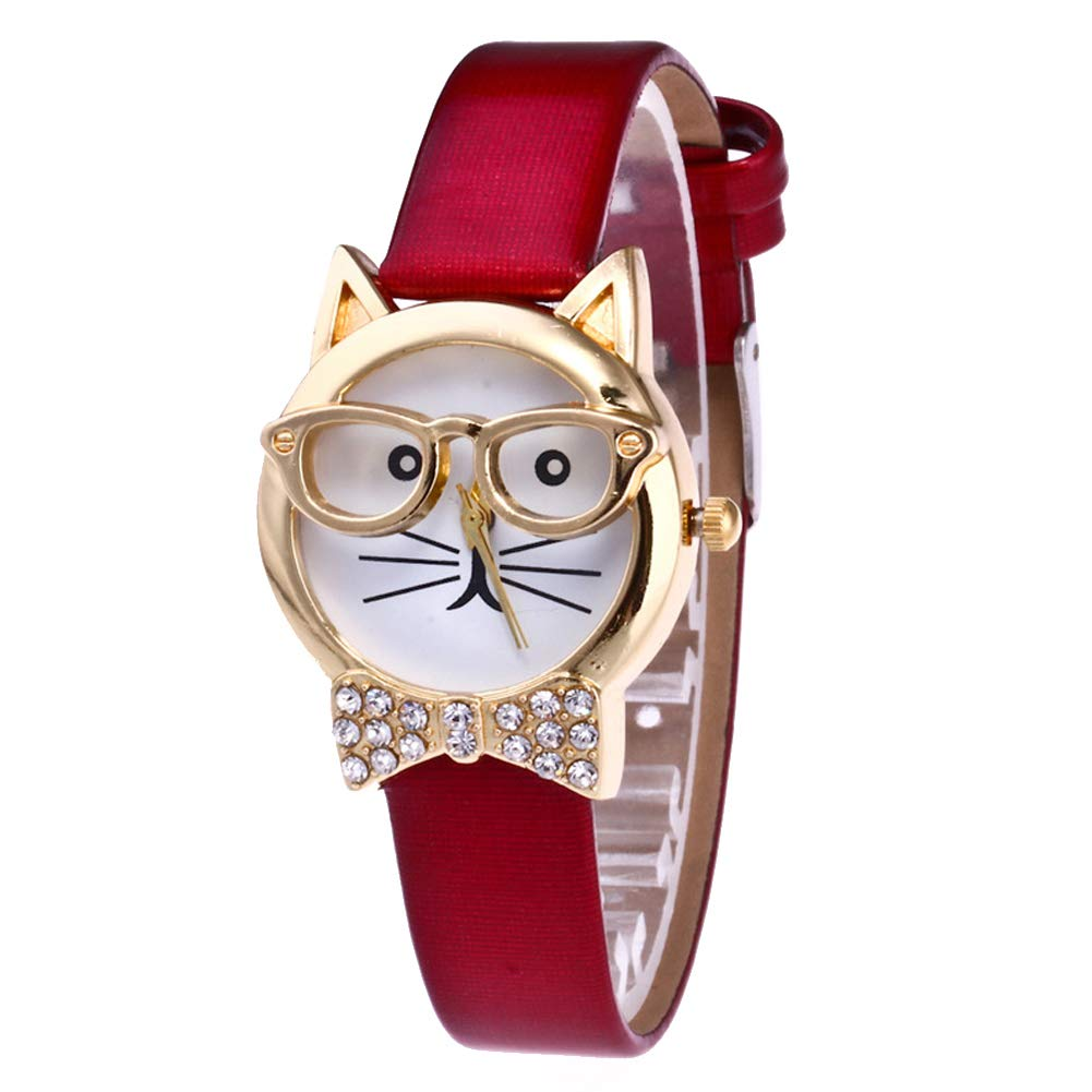 lightclub Cute Cat Face Round Dial Rhinestone Faux Leather Women Analog Quartz Wrist Watch - Red