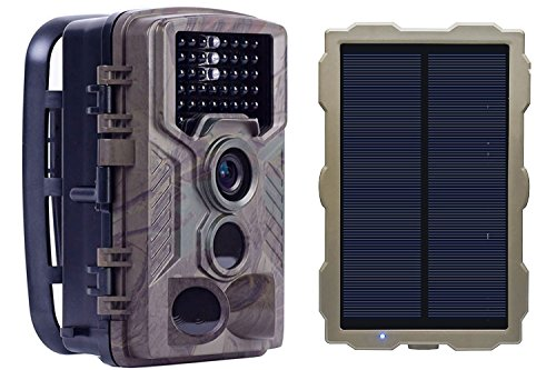 ECO LLC Solar Hunting Trail Game Camera with Portable Solar Panel for Charging Camera | 46Pcs IR LEDs| 16 MP | 0.2 S Trigger Speed | 1080p Video w Audio | 2.4