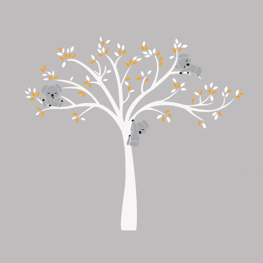 iShine Sticker Muraux Arbre Blanc Feuille Jaune Koala Dessin Animé Autocollant de Mur Adhésif Mural Décor pour Garderie Chambre Bébé Fille Garçon Enfant Salon Gris