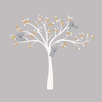 iShine Sticker Muraux Arbre Blanc Feuille Jaune Koala Dessin Animé  Autocollant de Mur Adhésif Mural Décor pour Garderie Chambre Bébé Fille  Garçon ...