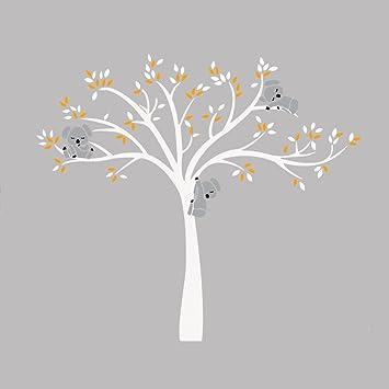 Bon IShine Sticker Muraux Arbre Blanc Feuille Jaune Koala Dessin Animé  Autocollant De Mur Adhésif Mural Décor