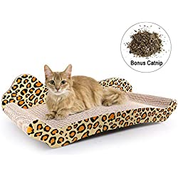 PrimePets Cat Scratcher Lounge, Corrugated Cat Cardboard Couch, Scratch Bed Reversible Scratching Lounger Sofa with Catnip, Kitty Claw Furniture Protecting(Large)
