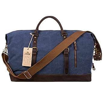 S-ZONE Oversized Canvas Genuine Leather Trim Travel Tote Duffel Shoulder Handbag Weekend Bag (Blue)