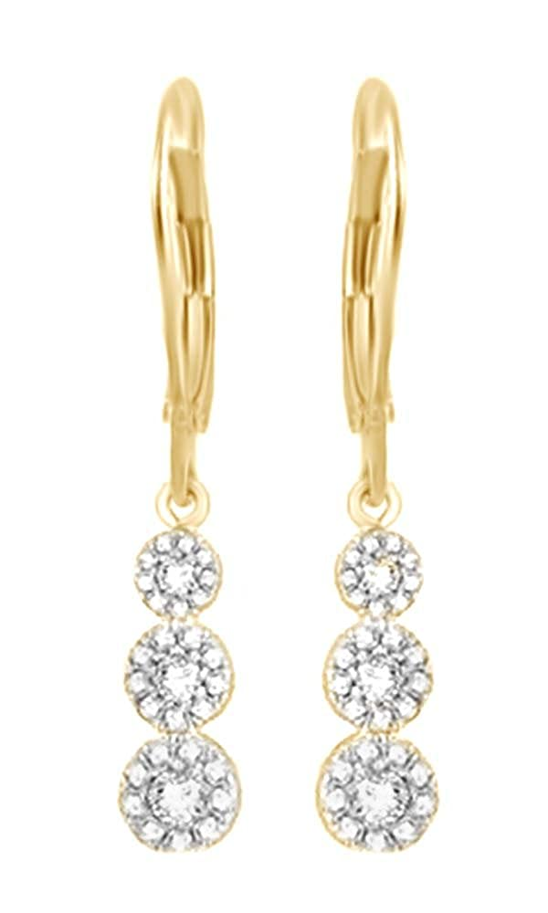 Weißszlig; natürlicher Diamant Drei Stone Cluster Ohrringe In Tropfenform 14 ct 585 Weißszlig; Gold massiv (0,5 Karat) 14 Karat (585) GelbGold