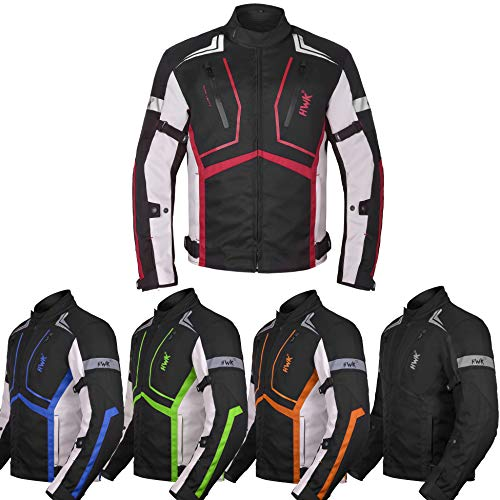 - Motorcycle Jacket For Men Cordura Motorbike Racing Biker Riding Breathable CE Armored Waterproof All-Weather (Red, XXX-Large)
