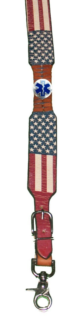 Custom EMT, EMS, Star of Life American Flag Leather Suspenders Galluses or Braces