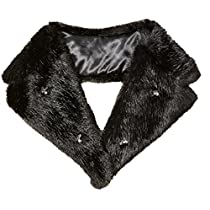 Orchid Row Women's Bead Embellished Special Occasion and Wedding Faux Fur Fashion Collar