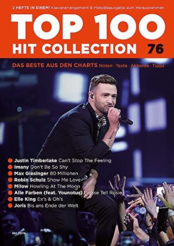 Top 100 Hit Collection 76: 8 Chart Hits: Can't Stop The Feeling - Don't Be So Shy - 80 Millionen - Show Me Love - Howling At The Mood - Please Tell ... Band 76. Klavier / Keyboard. (Music Factory)
