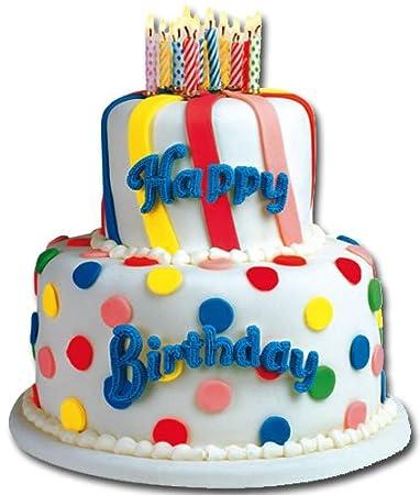 Amazon.com: Tarta de cumpleaños blanco Die Cut Tarjeta de ...