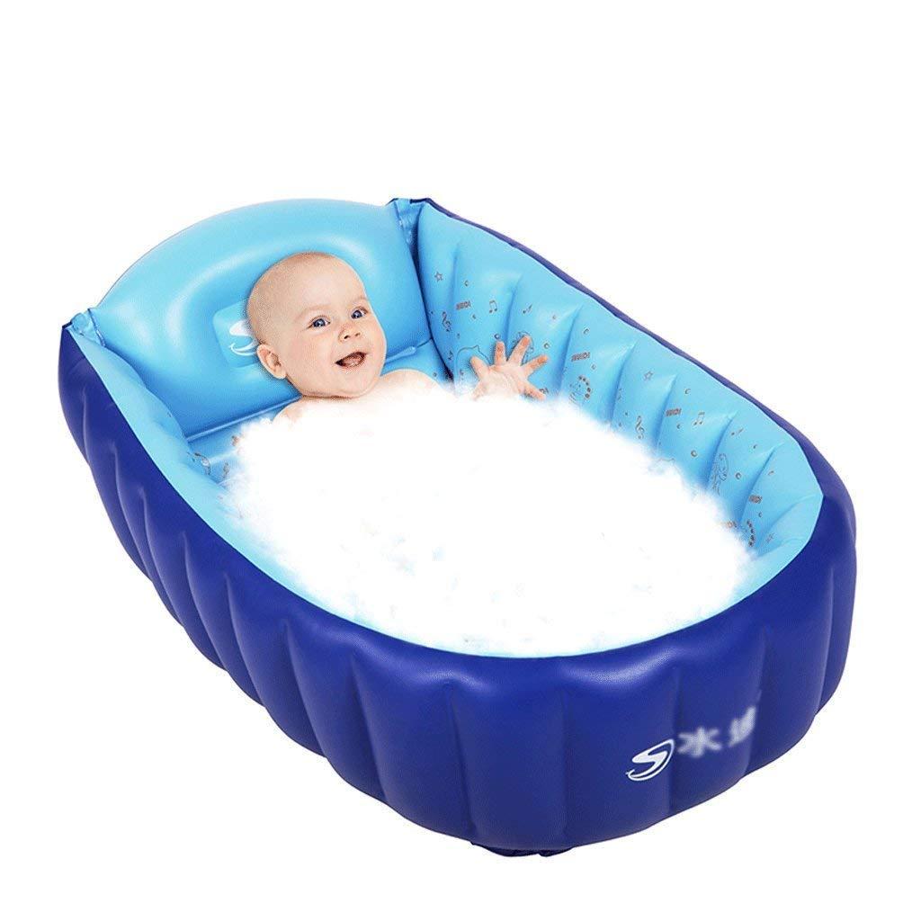 Eeayyygch Pool-Badewanne, zum Einweichen und Baden von LI Hao Shop, modernes Design, aufblasbar, zusammenklappbar, für Babys, dick und warm, Blau, blau,