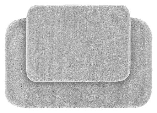 Garland Rug 2-Piece Traditional Nylon Washable Bathroom Rug Set, Platinum Gray ()