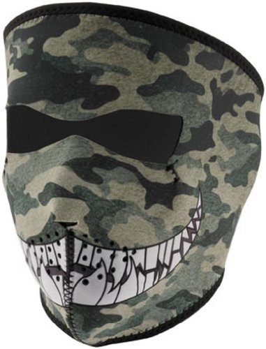 Zan Headgear Noeprene Full Face Mask , Gender: Mens/Unisex, Primary Color: Green, Distinct Name: Camo with Teeth, Size: OSFM WNFM072