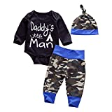 new baby boy clothes - Newborn Daddy's Little Man Print Baby Boys Girls Romper +Camo Cotton Long Pants +Hat Outfit (0-6Months, Black)