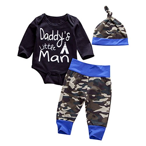 Newborn Daddy's Little Man Print Baby Boys Girls Romper +Camo Cotton Long Pants +Hat Outfit (0-6Months, Black)
