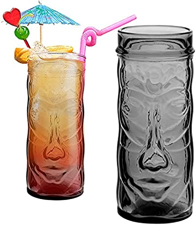 Summer Punch Tiki Glasses Set Tiki Cocktail Drinking Glasses Hawaiian Themed pina Colada Cocktail Glasses Drinks Mugs for Parties//Bar