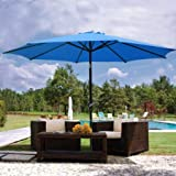 Cheap 9ft Blue Sunshade Umbrella Metal Pole Outdoor Garden Yard Patio Beach Market Cafe 9′