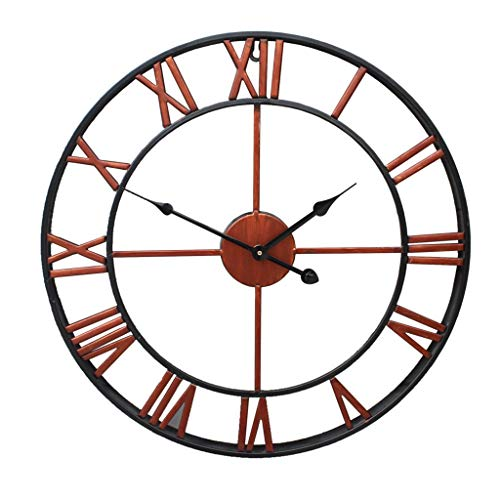 QIAO European Round Wall Clock Iron Retro Large Wall Clock Living Room Kitchen Bedroom Wall Decoration (Color : Copper Color, Size : 45cm/18)