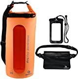 Freegrace Waterproof Dry Bags Set Of 3 By Dry Bag With 2 Zip Lock Seals & Detachable Shoulder Strap, Waist Pouch & Phone Case - Can Be Submerged Into Water - For Swimming (Orange(Window), 20L)