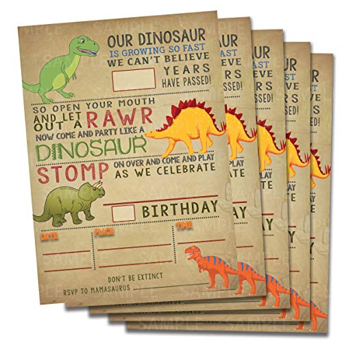 Dinosaur birthday invitations party decoration, fill in 5x7 invites, Boy T-Rex Dino Party.