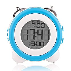 Egundo Digital Alarm Clock Large Numbers LCD Display Date Week, Snooze LED Nigh Light 2 Alarms Battery Operated Loud Double Bell Ringing for Heavy Sleepers (Blue)