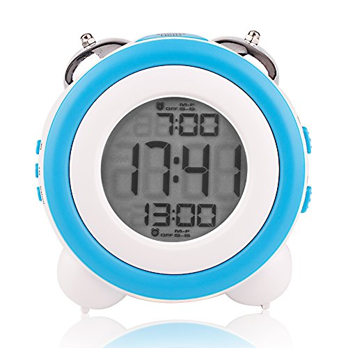 24 Hr Round The Clock (Egundo Digital Alarm Clock Large Numbers LCD Display Date Week, Snooze LED Nigh Light 2 Alarms Battery Operated Loud Double Bell Ringing for Heavy Sleepers (Blue))