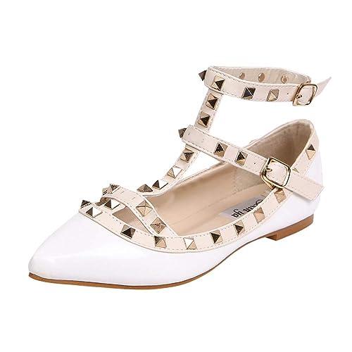 2515a833dfd9d4 Daytwork Chaussures Femme Ballerines Sandales - Chaussures de Batea Mary  Janes Mode Talons Bas Été Ballerines