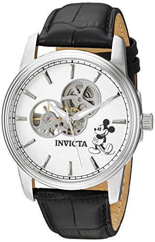 Limited Edition Skeleton Mens (Invicta Men's Disney Limited Edition Stainless Steel Automatic-self-Wind Watch with Leather Calfskin Strap, Black, 24 (Model: 24500))