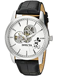Invicta Mens Disney Limited Edition Automatic Stainless Steel and Leather Casual Watch, Color:Black (Model:...