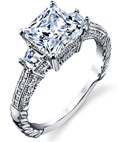 Metal Masters Co. Sterling Silver 925 Vintage 3ct Princess-cut Cubic Zirconia Wedding Engagement Ring Band 8