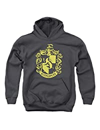 Harry Potter Hufflepuff Crest Youth Pull Over Hoodie Charcoal