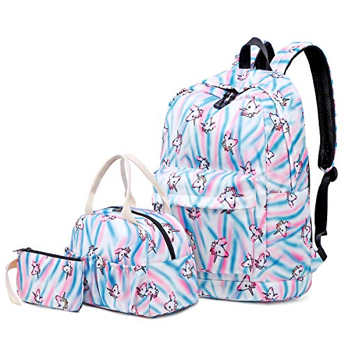 FLYMEI Canvas Backpack, College Bookbag for Teen Girls/Women, Lightweight Shoulder Bag, Laptop Bag (3in1bag Unicorn)