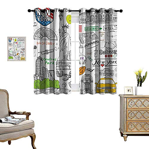 American Patterned Drape for Glass Door New York City Culture Metropolitan Museum Broadway Crossroad Wall Street Sketch Style Waterproof Window Curtain W55 x L63 White