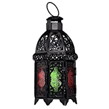 HJUNS Trendy Moroccan Style Metal Hanging Table Lamp Lantern Candle holder