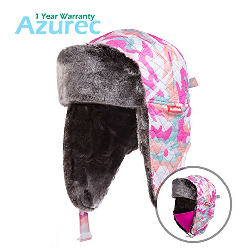 Azurec Winter Ear Flap Trooper Hat with Mask (Camouflage Rose Red)