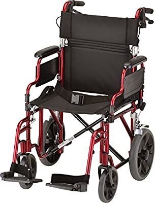 """NOVA Medical Products 352 Lightweight Transport Chair with Detachable Desk Arms, Hand Brakes and 12"""" Rear Wheels, 19"""", Red"""