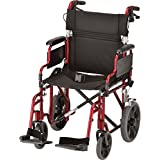 NOVA Medical Products 352 Lightweight Transport Chair with Detachable Desk Arms, Hand Brakes and 12-Inch Rear Wheels, 19-Inch, Red