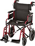 "NOVA Lightweight Transport Chair w/12"" Rear Wheels, Red"