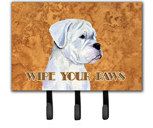 Caroline's Treasures SS4887TH68 White Boxer Wipe Your Paws Leash or Key Holder, Large, ()