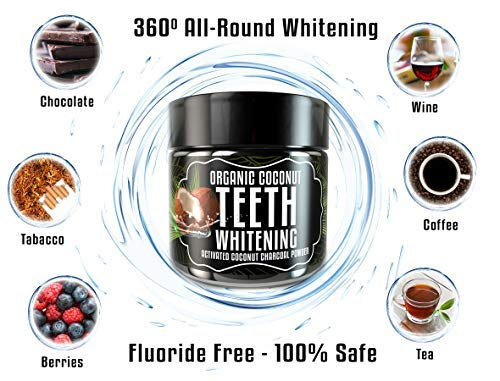 Activated Charcoal Teeth Whitening Powder - Odissey Life - Coconut Oil - Organic Coconut Charcoal Powder - Sparkling White Teeth - Best Nano Technology Teeth Whitening - 2 Pack Orange + Mint