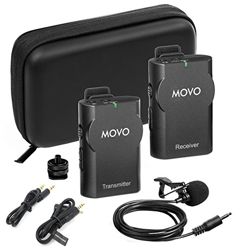 (Movo WMIC10 2.4GHz Wireless Lavalier Microphone System for DSLR Cameras, iPhone, iPad,Android Smartphones, Camcorders (50-Foot Transmission Range) )