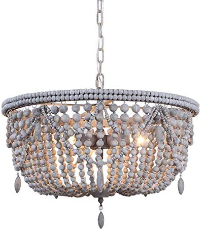 Lovedima Vintage Country 3-Light 5-Light Distressed Wood Beaded Basket Pendant Light Ceiling Light Gray, 5-Light