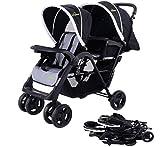 Safeplus Foldable Twin Baby Double Stroller Kids Jogger Travel Infant Pushchair Black