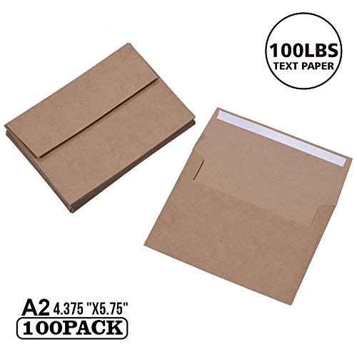 - 100 Pack, Size A2, 100lbs Brown Kraft Paper Envelopes | Self Sealing Adhesive| Perfect for Weddings, Invitations, Baby Shower| Stationery for General, Office | 4.375 x5.75 Inches (A2)