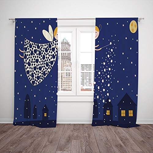 iPrint 2 Panel Set Satin Window Drapes Kitchen Curtains,Night Girls Kids Cartoon Cute Fairy in Sky Casting Magic Over Houses Hearts Stars Blue Marigold White,for Bedroom Living Room Dorm Kitchen Cafe