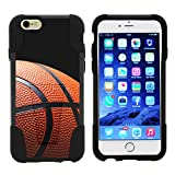 TurtleArmor | Apple iPhone 6 Case | iPhone 6s Case [Gel Max] Hybrid Impact Proof Kickstand Case Silicone Hard Dual Cover Sports and Games Design - Basketball Seams